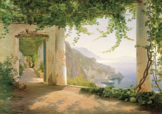 Aagaard, Carl Frederic: View to the Amalfi Coast. Scenic Fine Art Print/Poster. Sizes: A4/A3/A2/A1 (0031)